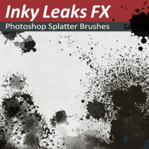 Photoshop Splatter Brushes - Inky Leaks