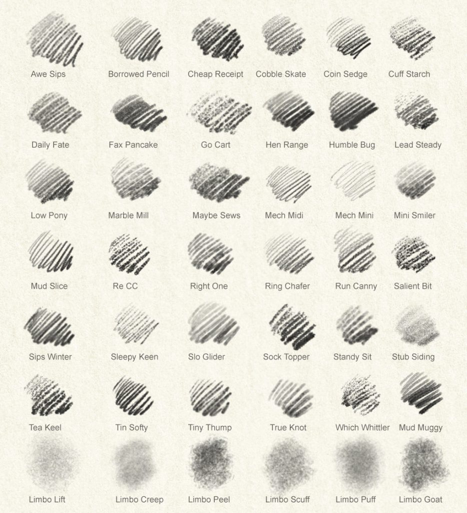 Sample strokes of each of the 42 Photoshop pencil brushes
