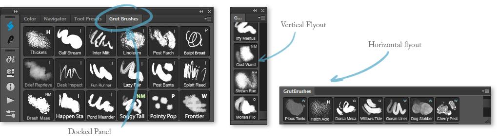 Arrange Brush panel - docked horizontal or vertical flyoutArrange Brush panel - docked horizontal or vertical flyout