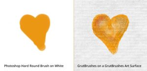 painting on a plain white background (left) vs GrutBrushes paper texture (right)