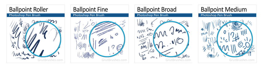 Realistic ballpoint pen brushes for Photoshop