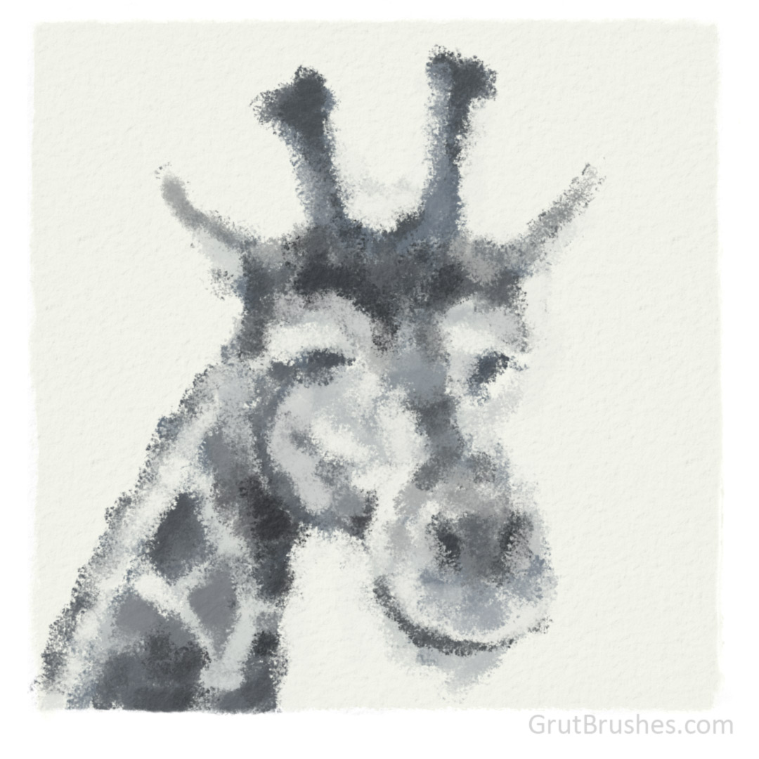 Giraffe Painted with the Gritty Bits Photoshop Brush