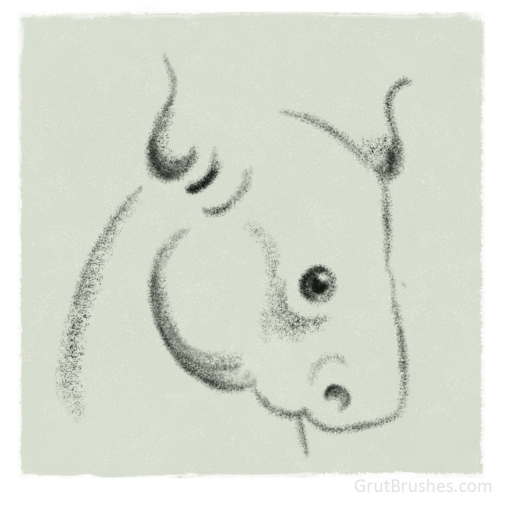 Bull Drawn With Moss Potter Photoshop Charcoal brush
