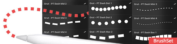 Procreate dash and dots brush pack examples (brushset file)