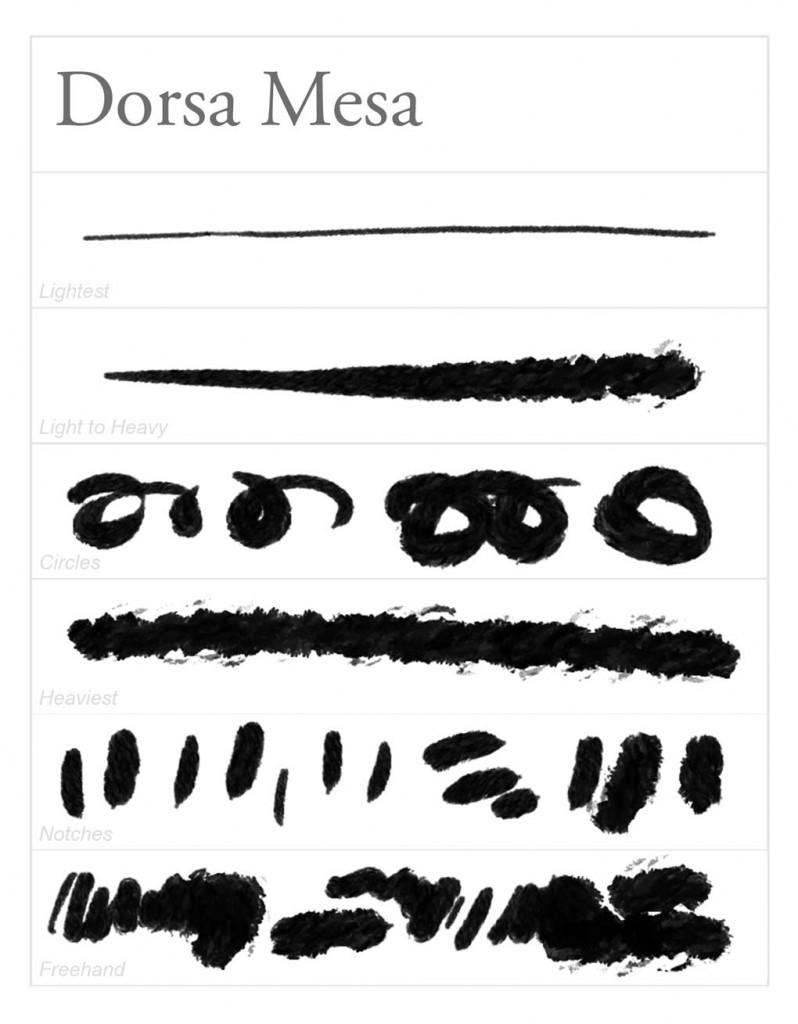 Brush Stroke Guide o the Photoshop Gouache brush Dorsa Mesa