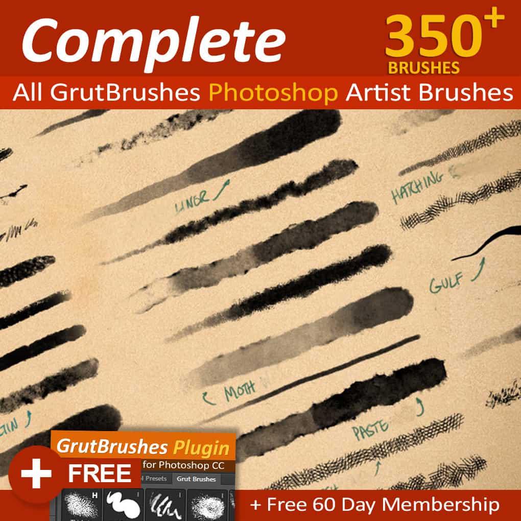 GrutBrushes Art Brushes Complete – 350 Photoshop Brushes