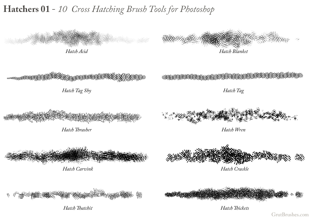 10 Cross Hatching brushes for Photoshop