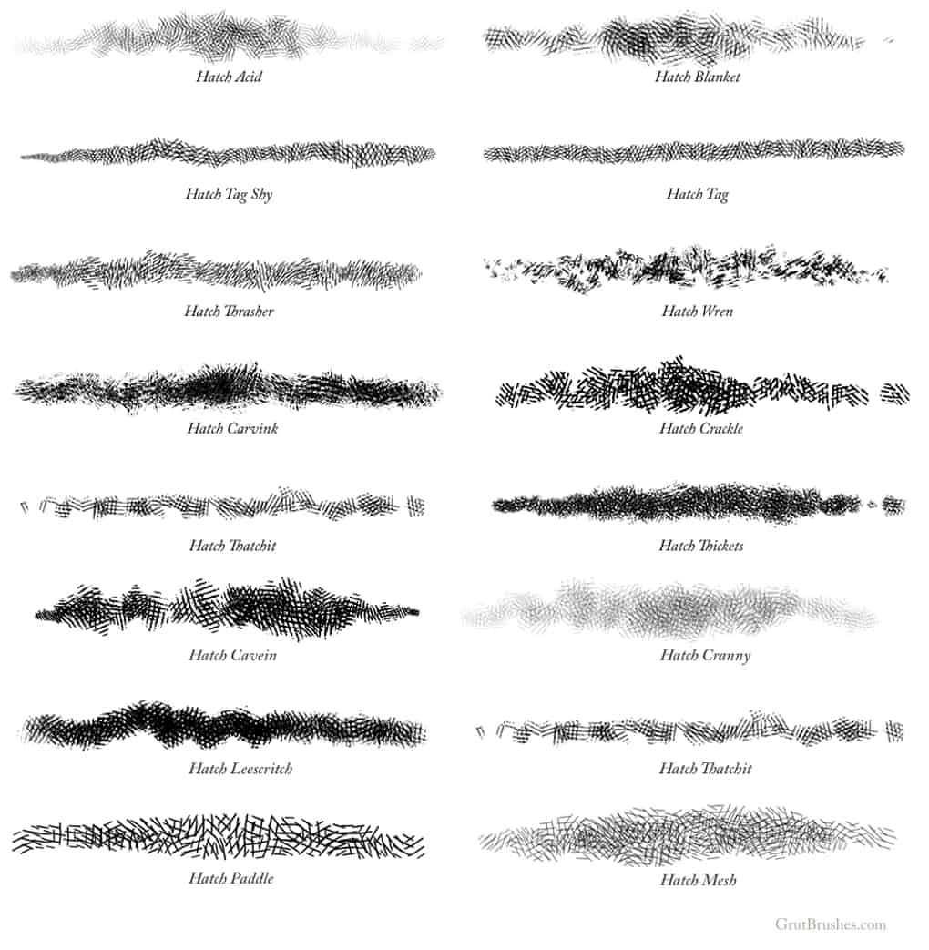 15 Cross Hatching Brushes for Photoshop