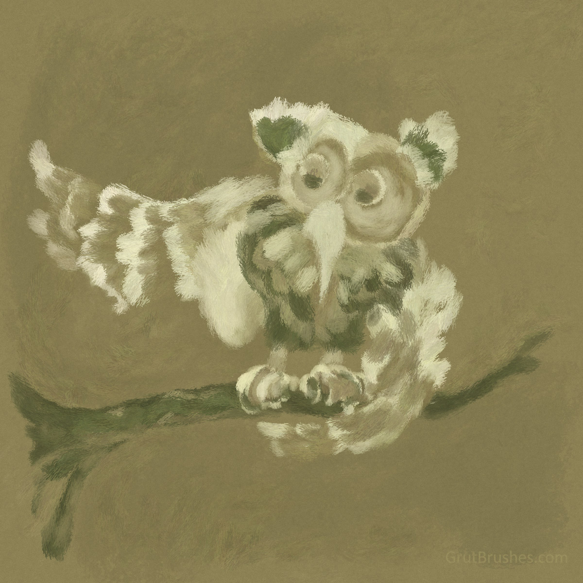 Love-Downy-Owl-oil-impasto-painting
