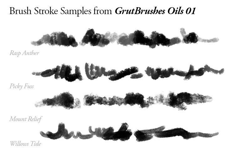 More brush strokes of the Oils 01 Photoshop brushes