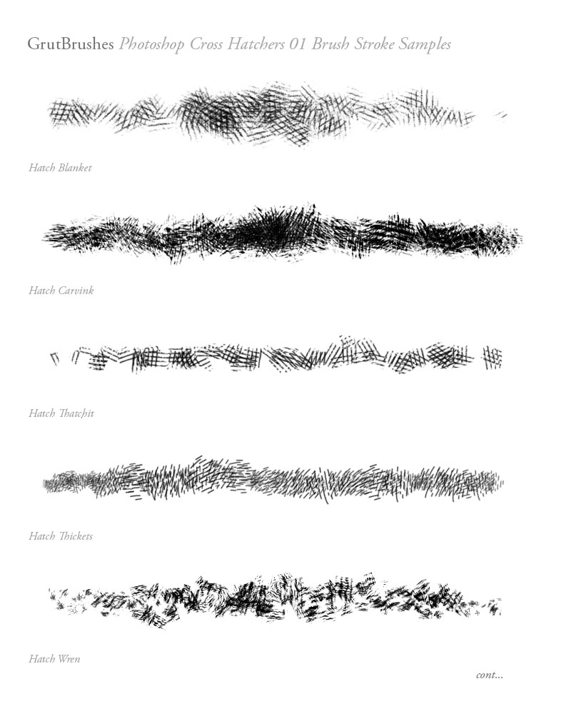 5 of the cross-hatching Photoshop brushes included in the Hatchers 01