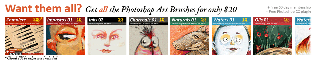 Get over 200 Photoshop brushes + a 60 Day membership and free Plugin (CC only)