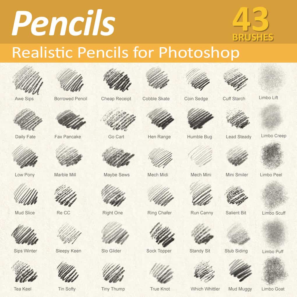 Realistic Photoshop Pencil Brushes For Illustrators