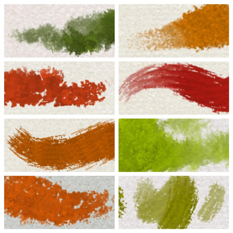 8 Procreate impasto oil brush strokes (enlarged 300%)