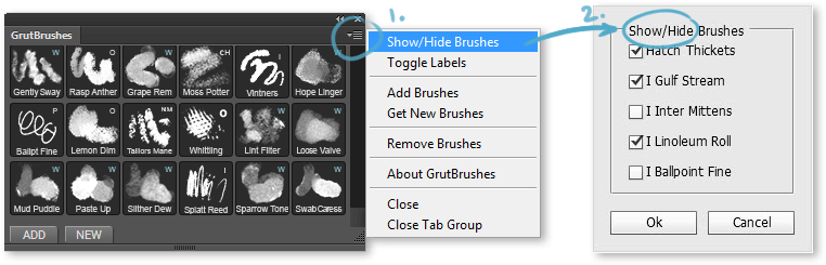 Show or hide Photoshop brush toolsets you don't use