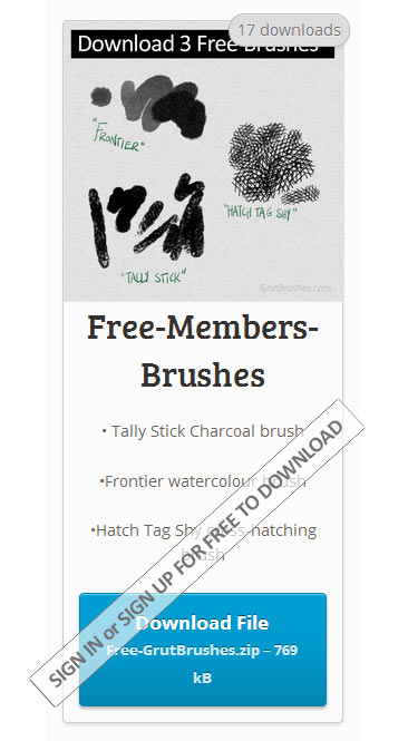 sign up for free to download 3 free natural media Photoshop brushes