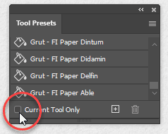 Tool Presets panel with current tool only checkbox unchecked