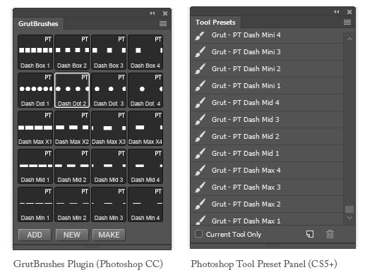 Photoshop dashes brushes usage