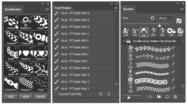 use Photoshop pattern brushes in the brushes panel tool preset panel or GrutBrushes plugin