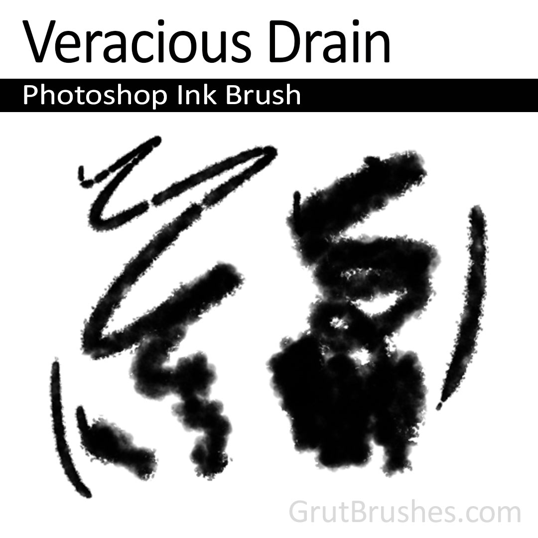 'Veracious Drain' Photoshop ink brush for digital painting