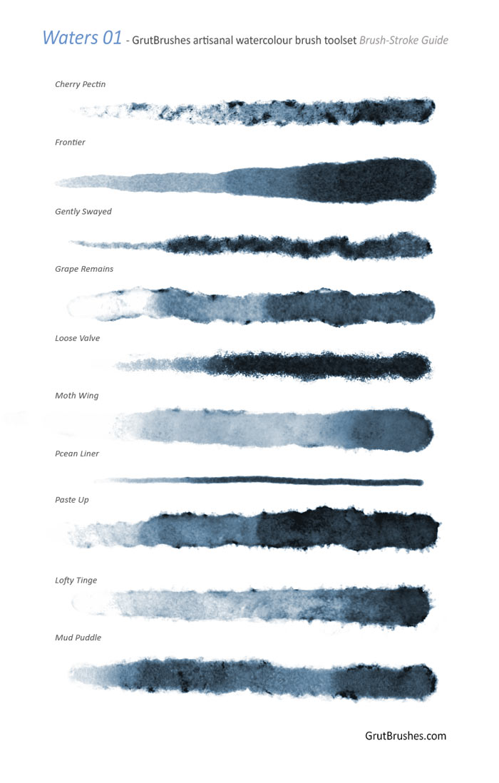 real watercolor Photoshop brushes - brush strokes