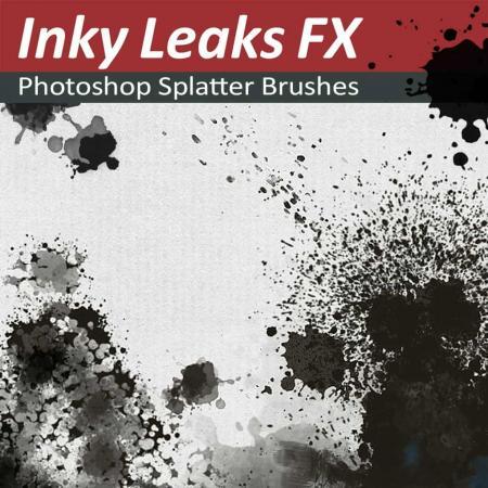 Photoshop Splatter Brushes - Inky Leaks